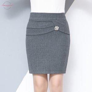 Winter 2020 Autumn Amp;Winter Women Woolen Skirt Slim Sexy Office Accessories Elastic High Waist Package Hip Mini Skirt Plus Size Black