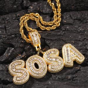 Mini Baguette encargo del nombre de letras collar con Tenis cadena de la cuerda de la cadena de joyería heló la plaza fuera de circón para hombre Hip Hop regalo