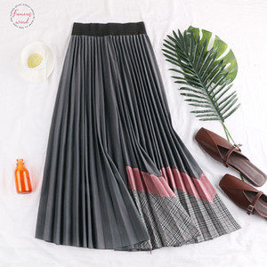 Fall Amp; Winter Ladies Splicing Velvet Pleated Long Skirt Women Fashion Personality High Waist Multi Color Flare Skirt Saias