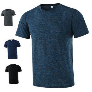 18 мужчин движение высокоэластичная рубашка с коротким рукавом и быстрый бег упражнения одежда ткань T лед шелк с коротким рукавом дышащая одежда
