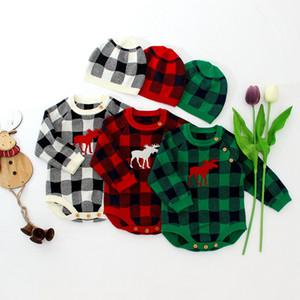 Los niños de los mamelucos de la tela escocesa de Navidad Elk impresos muchacho de las muchachas de Navidad del mono Sombrero conjuntos de trajes de una pieza Playsuit 2pcs / set OOA7379-2