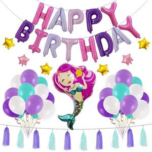 Mermaid Alüminyum Folyo Balon Püskül Ile Set Mutlu Doğum Günü Mektup Balonlar Lateks Balon Oyuncak Doğum Günü Partisi Düğün Dekorasyon VT1705