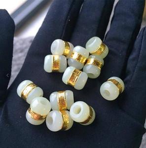 Oro con incrustaciones de jade y Tian Yu Road Road pase colgante de jade blanco transferencia de cuentas DIY suelta perlas envío gratis F1