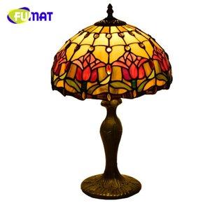 Fumat American Pastoral Libelle kreativ Retro Tiffany-Buntglas Wohnzimmer Esszimmer Schlafzimmer Nachttischlampe Rose