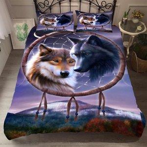 BEST.WENSD качества мягкой Fabulous постельных принадлежностей хлопка 3D Парой Wolf Одеяло набор крышка кровати одеяло богемный стиль Dreamcatcher Bed