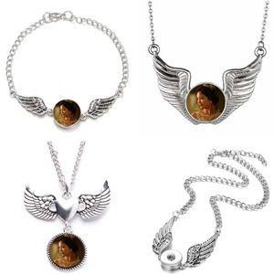 التسامي أجنحة الملاك القلائد المعلقات للنساء زر قلادة قلادة المجوهرات القلب يمكنك نقل 15 قطعة / الوحدة