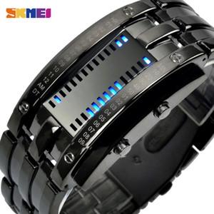 SKMEI mode Creative Sport Montre Homme en acier inoxydable LED bracelet affichage Montres 5bar étanche Montre numérique reloj hombre 0926