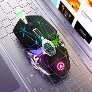 Diamante luminoso Wireless Mouse de Juego RGB retroiluminada de 2,4 GHz Silencio recargable ratones de ordenador de Ministerio del Interior Gamer inalámbrico silenciosa ratón USB A7