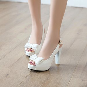 YMECHIC 2019 Summer Fashion Butterfly-knot Peep Toe Slingbacks Ladies White Bride Wedding Shoes Plus Size Party Womens Pumps T200525