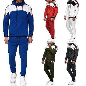 Para hombre primavera Diseñador capucha cuello deportes de los hombres de la cremallera de la mosca 2pcs sistemas Adolescentes rayado fino panelados chándales