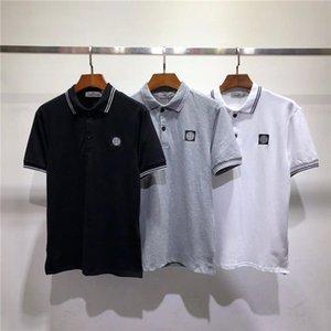 Italia Camisa de lujo de primavera camiseta de la camiseta del polo STONE ISLAND camisas de la calle principal del bordado serpientes de liga pequeña abeja impresión Ropa hombre del polo