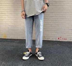 Подростки письмо Печати Прямого джинсов Летнего Дизайнерский Mens Wide Leg Свет Омывается шаровары Самцы Street Style Pants