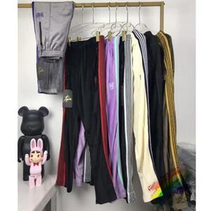 Брюки вышивки Sweatpants Мужчины Женщины 1 Высокое качество Полосатый Joggers Velvet