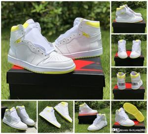 2019 Homens 1 First Class vôo tênis de basquete Formadores 1s Designer Bar Code Branco Amarelo mulheres homens Sapatilhas cestas des Chaussures Schuhe