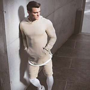 Los hombres del suéter con capucha de la gimnasia ajuste delgado con capucha Zip Up suéter puro del puente del color tendencia de la moda Outwear Tops Sudaderas Para Hombre