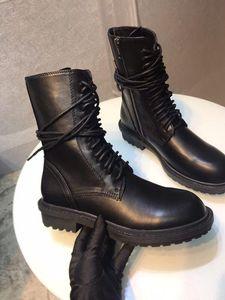 Hot Sale-2019 concepteur ANN DEMEULEMEESTER cuir véritable à talons plats meilleures chaussures de haute qualité des femmes espadrille à lacets cheville Bottines Bottes