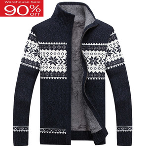Men thick zipper 2020 new winter male stand collar plus velvet thermal sweater teenage boys knitted cardigan coat M42