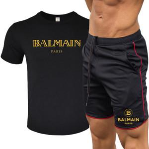 2020 Balmain Homens Verão Treino Fashion Designer T Shirt Calças + Curto 2 sets peça sólida ternos Cor Outfit Tracksuits de alta qualidade