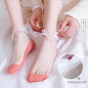 Девушки кружева со стороны хлопок Тонкие носки лета женщин сетки дышащий Носок Lady Transparent чулочно-носочные изделия Мода ножной Эластичные носки CD810