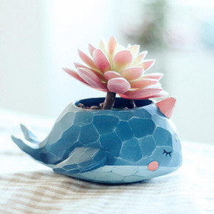 Bitki Pot Karikatür Mini Timsah Balina Reçine Saksılar Fil Hayvanlar Sulu Bitki Saksılar Bonsai Saksı Ev Ofis Dekorasyonu