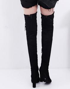 Inverno SAGACE Stivali moda di New donne Stretch Faux Slim Tacchi alti Stivali sopra il ginocchio stringati alti talloni della donna calza gli stivali # 45