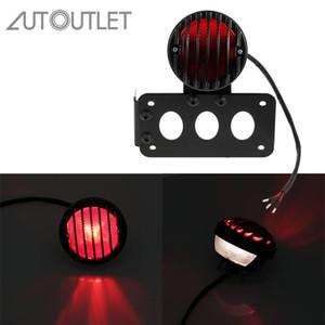 AUTOUTLET para 12V LED de montaje lateral de la cola luz de freno y la luz de la matrícula Soporte Para Har-ley motocicleta Bobber Chopper