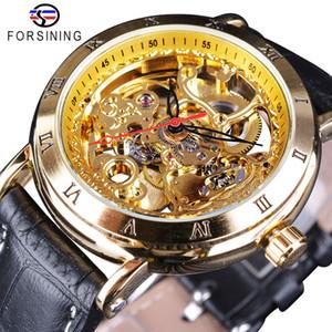 Forsining Reale Carving numero romano Retro Steampunk quadrante trasparente Orologi Uomini superiore di marca di lusso di scheletro automatica orologio da polso
