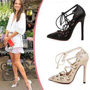 Sandalias para mujer europea y americana Sexy Stiletto hueco-hacia fuera con cordones para mujer zapatos de tacón alto más el tamaño 35-43 altura del talón 11 CM