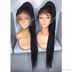 G Perruque Long Cornrow Braided Synthetic Lace Front Wigs Black Browncolor Micro Braids With Baby Hair Heat Resistant For Africa Americ