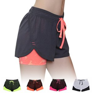 Women Yoga Short Pants Fitness Leggings Running Gym Exercise Sports Trousers ladies mid waist color block shorts elastic wa 2020