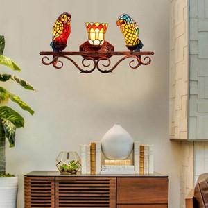parede retro Europeia acende Tiffany manchado papagaio vidro cabeça três lâmpada de parede americano bar corredor lâmpada de parede restaurante TF012