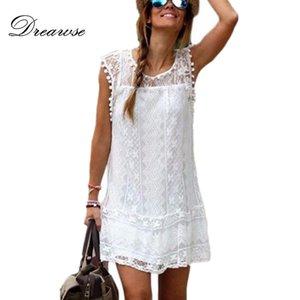 Dreawse 여름 드레스 여성 캐주얼 비치 짧은 드레스 술 블랙 화이트 미니 레이스 섹시한 파티 드레스 Vestidos S-XXL MZ2548