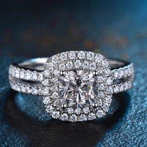 Platinum di modo delle donne del rame placcato Full Ring zircone anello di diamanti dimensione festa di nozze gioielli ornamento 6 7 8 9