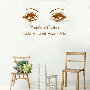 Duvar Çıkartması Siyah Göz Kirpikler Vinil Çıkartmalar Kirpikler Kaşları Kaşlar Güzellik Salonu Duvar Sticker Alıntı Kız Odası Ev Dekor