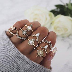 10 Pcs set Fashion Gem Stars Geometric Crown Crystal Finger Ring Set Bohemian Women's Vintage Party Jewelry Accessories