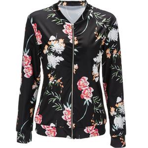 2017 S-2XL Nueva otoño floral impreso manera buena calidad Damas Calle básico mujeres del estilo cortocircuito de la chaqueta