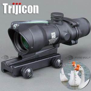 사냥 라이플 스코프 ACOG 4X32 실제 광섬유 적색 도트 조명 쉐브론 유리 에칭 적외선 전술 광학 시각