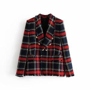 Las mujeres forman la vendimia tela escocesa del remiendo Chaqueta de tweed chaqueta de doble botonadura de bolsillo de manga larga Mujer Escudo diseñador