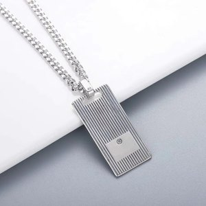 Europe America Hot Sale Retro Men Lady Women Cupronickel Silver Plated Bead Chain Necklace With Engraved G Initials Stripe Square Pendant