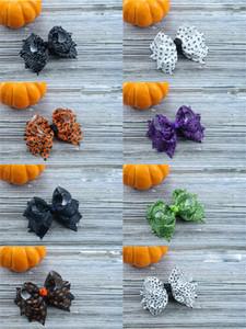 16 estilos de los colores de Halloween calabaza Flor hairbows pasadores niñas hairclip Boutique del Bowknot de las horquillas FJ672 accesorios para el cabello regalo