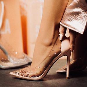 Sexy Klare PVC-Absatz-Schuhe Bling Bling Kristall verschönerte Poited Toe Schuhe Hochzeit Braut Beige Schwarz Red Pump Frauen