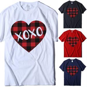 Gratuit DHL Love Heart T-shirt Femmes Hommes Saint Valentin Coeur d'impression à manches courtes T Slim Hauts Casual Couple T-shirt Pour Party de vacances U82FY