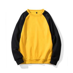 Zuolunouba frühlingsmode gelb patchwork fleece pullover männer und frauen hoodies sweatshirt europäische größe lässige kleidung