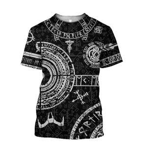 Viking Tattoo 3D Printed T-Shirt für Männer Frauen-T-Shirt Mode Kurzarmhemd Sommer Street Unisex-T-Shirt Tops