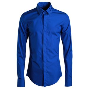 4 Farbe Herrenhemd Luxus Gestickter Kragen Mens Dress Shirt Weiß Schwarz Marineblau Solide Mode Herren Shirts Casual Slim Fit