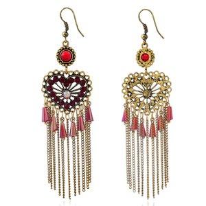 Оптово-Explosive ювелирные изделия с полыми персик сердца серьги с ретро кристалл персик сердца кисточкой серьги