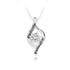 Familia de moda grandmothergranddaughter carta de la aleación encanto con collar de diamantes colgante abuela gargantilla collar mujeres regalo de la joyería