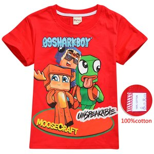 Moosecraft Printed Kids Tee shirts 3 Colors 6-14t Kids Boys Girls Cartoon Printed Cotton T shirts Tees kids  clothes JSS207