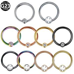1Pc lot Titanium Nose Rings Round & Flat Crystal Septum Rings Hoop Nostril Piercing Nose Earrings Oreja Body Piercings Jewelry