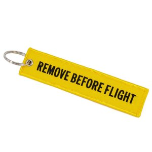 Box Remove Before Flight Fashion Tags Keychain Keyring Rectangle Polyester Embroidery Message 13*3CM Multicolor Free Shipping